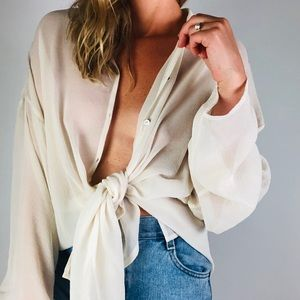 EILEEN FISHER White  Button Down Collared Shirt